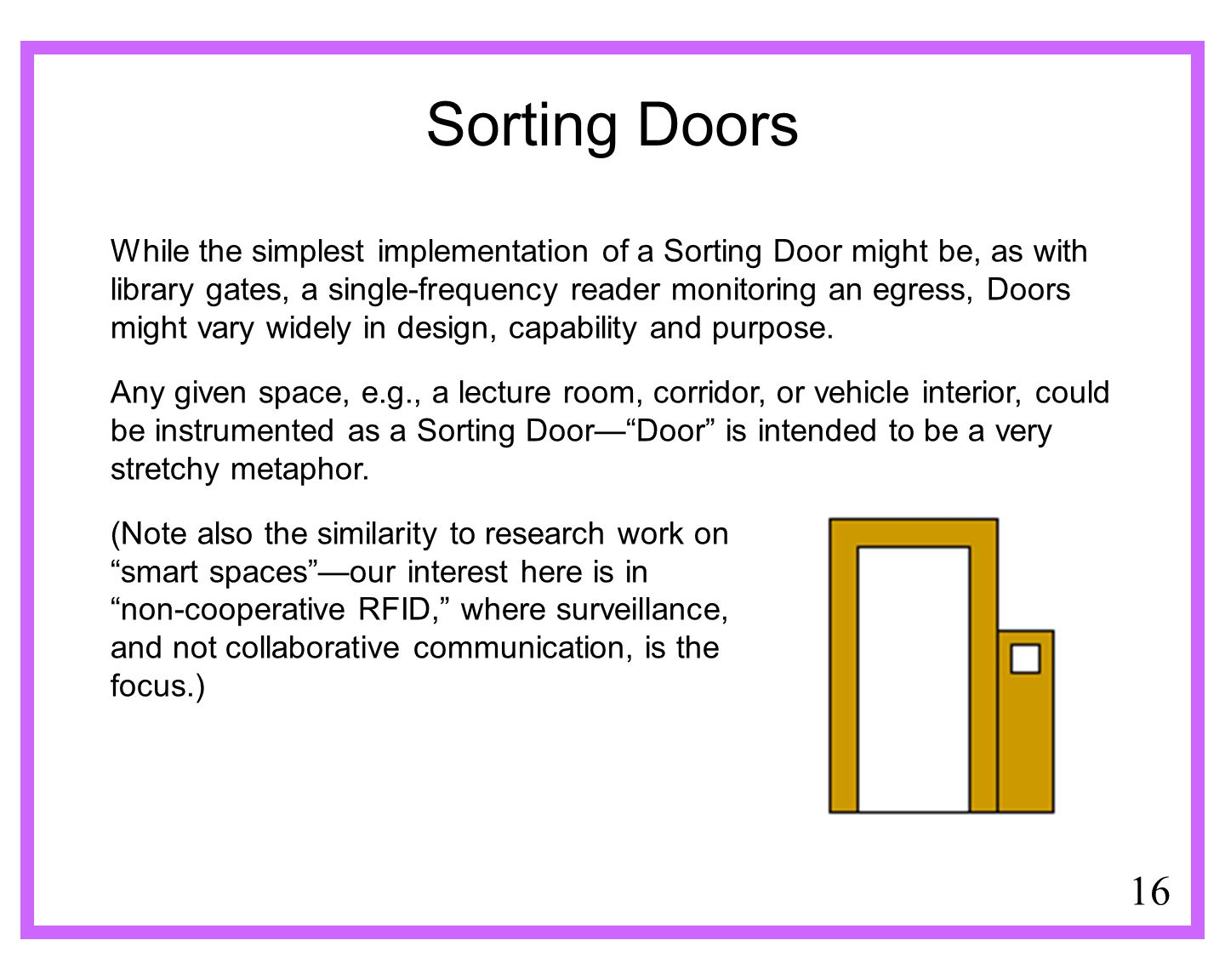 16 Sorting Doors While the simplest implementation of a Sorting Door might be, as with library gates, a single-frequency reader monitoring an egress, Doors might vary widely in design, capability and purpose.
