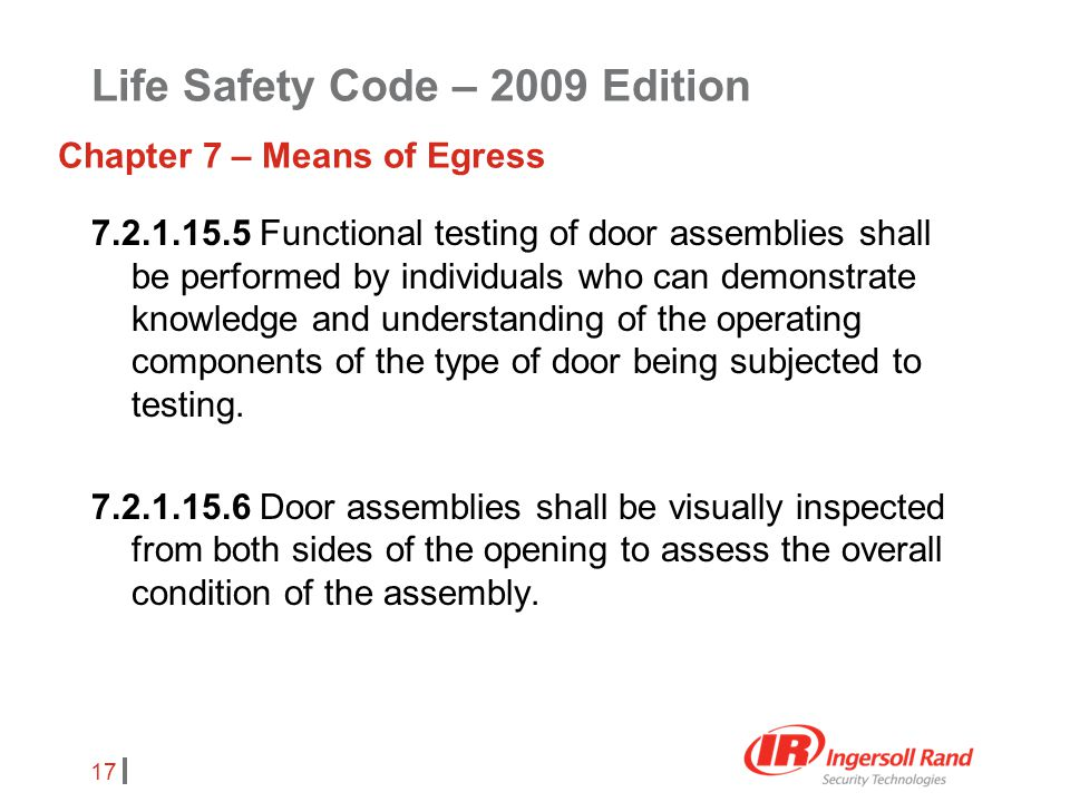 17 7.2.1.15.5 Functional testing of door assemblies shall be performed by individuals who can demonstrate knowledge and understanding of the operating