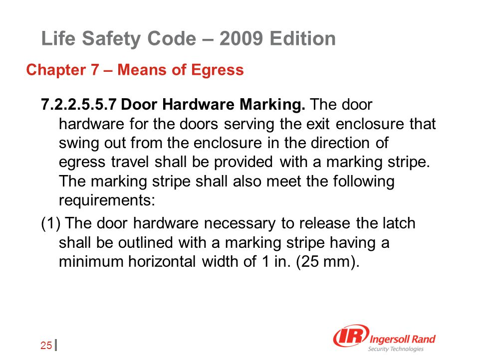 25 7.2.2.5.5.7 Door Hardware Marking. The door hardware for the doors serving the exit enclosure that swing out from the enclosure in the direction of