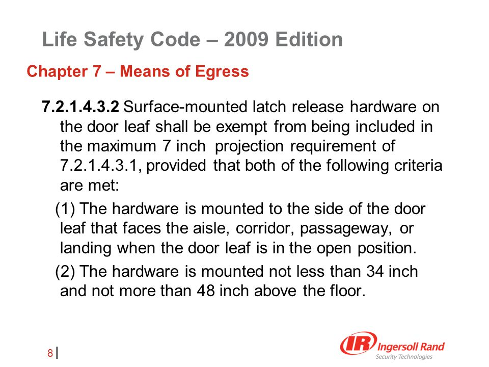 8 7.2.1.4.3.2 Surface-mounted latch release hardware on the door leaf shall be exempt from being included in the maximum 7 inch projection requirement