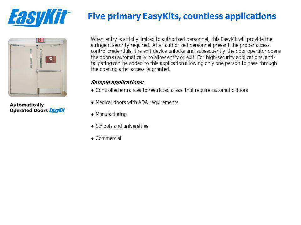 Medical doors with ADA requirements Manufacturing Schools and universities Five primary EasyKits, countless applications When entry is strictly limited to authorized personnel, this EasyKit will provide the stringent security required.