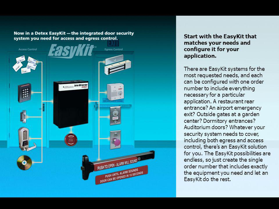 Start with the EasyKit that matches your needs and configure it for your application.