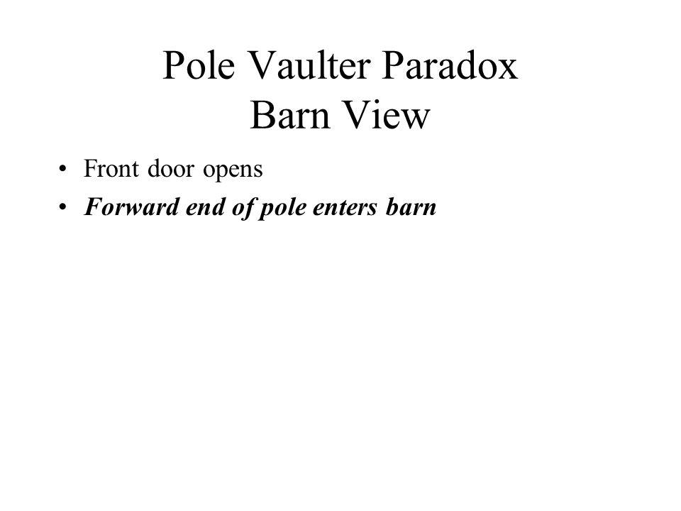 Pole Vaulter Paradox Barn View Front door opens Forward end of pole enters barn