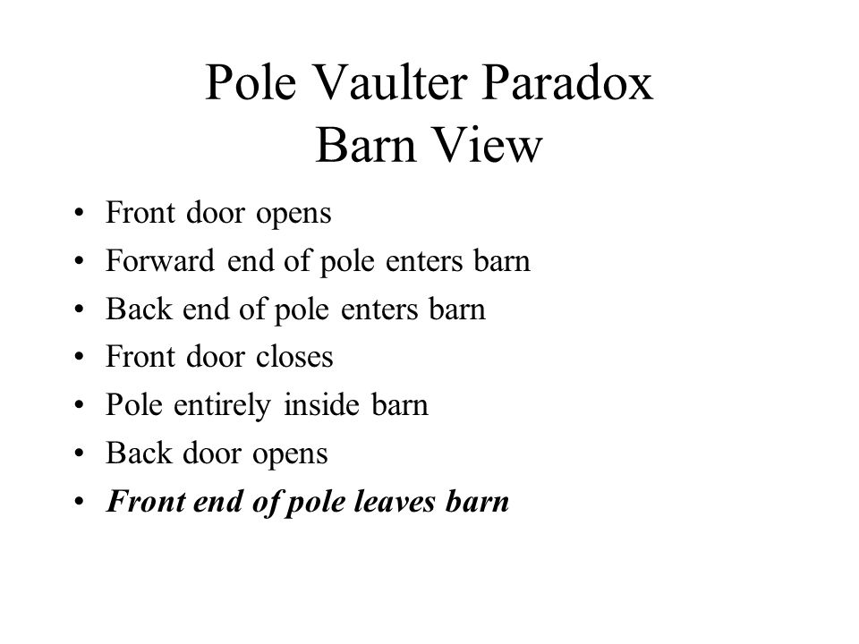 Pole Vaulter Paradox Barn View Front door opens Forward end of pole enters barn Back end of pole enters barn Front door closes Pole entirely inside ba