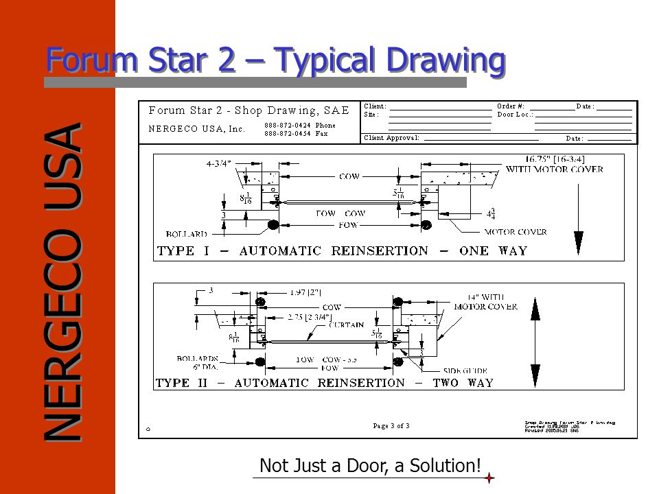 NERGECO USA Not Just a Door, a Solution! Forum Star 2 – Typical Drawing
