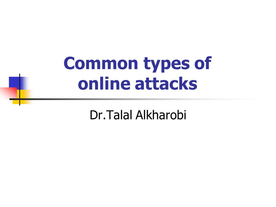 Types of online attacks Back doors Brute force Denial of service Exploiting known security vulnerabilities Guessing passwords Hijacking Random dialling or war dialling Sniffers Social engineering Spoofing Phishing & Pharming Malware