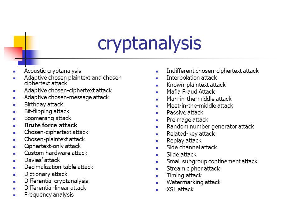 cryptanalysis Acoustic cryptanalysis Adaptive chosen plaintext and chosen ciphertext attack Adaptive chosen-ciphertext attack Adaptive chosen-message