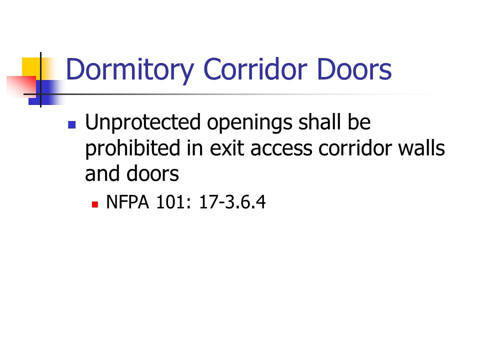 Dormitory Corridor Doors Unprotected openings shall be prohibited in exit access corridor walls and doors NFPA 101: 17-3.6.4