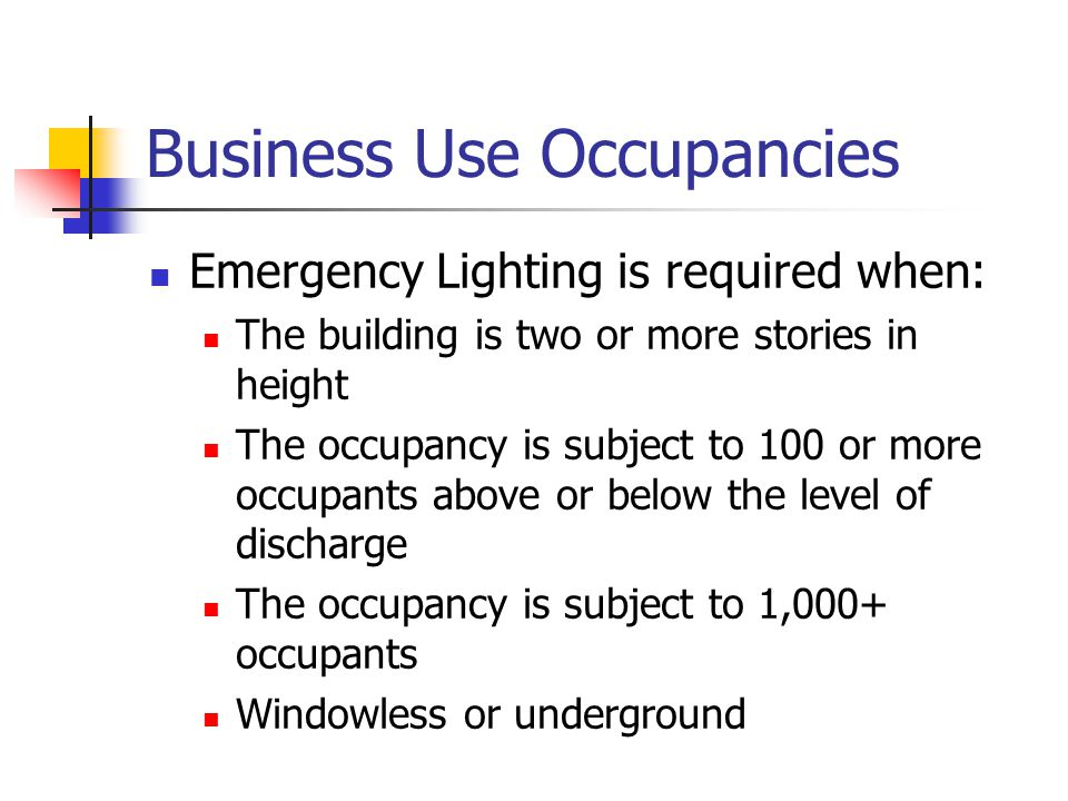 Business Use Occupancies Means of egress are required to have signs NFPA 101: 27-2.10 Vertical Openings Every stairway, elevator shaft, escalator opening, and other vertical opening shall b e enclosed or protected in accordance with 6-2.4.5 with exceptions 1 through 5 NFPA 101:27-3.1