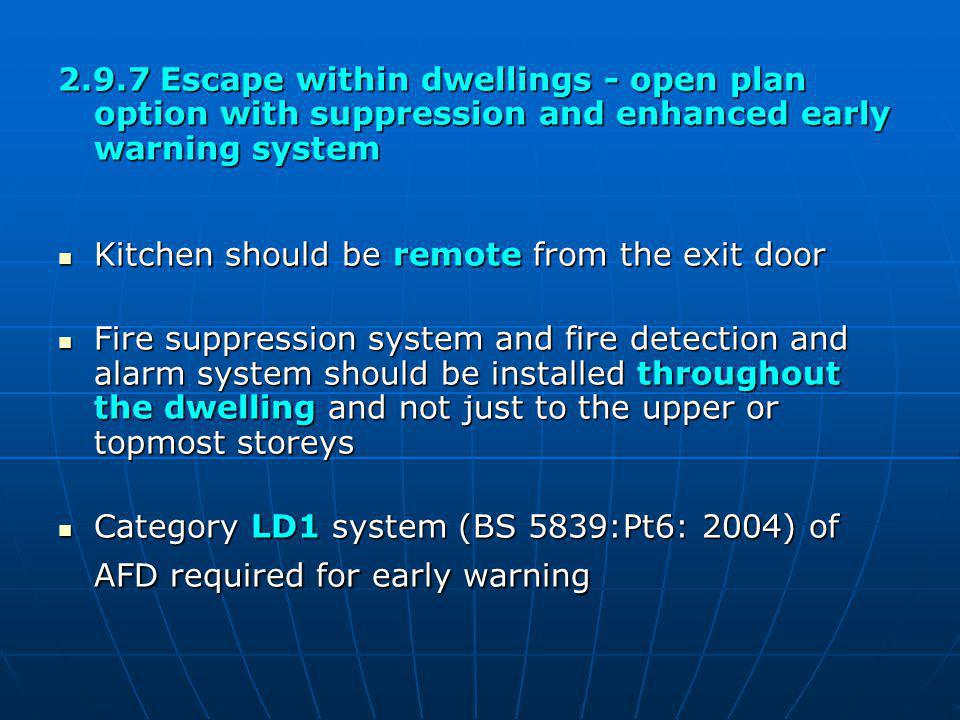 2.9.7 Escape within dwellings - open plan option with suppression and enhanced early warning system Kitchen should be remote from the exit door Kitche