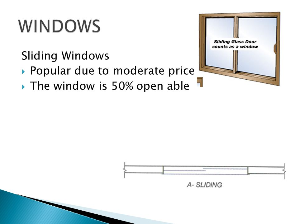 Sliding Windows Popular due to moderate price The window is 50% open able