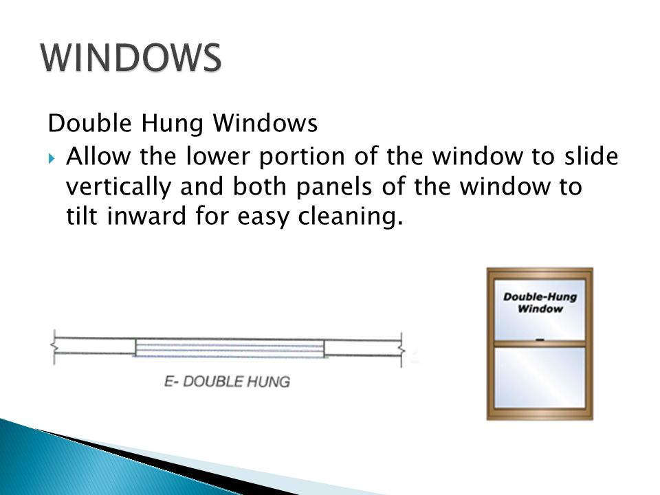 Double Hung Windows Allow the lower portion of the window to slide vertically and both panels of the window to tilt inward for easy cleaning.