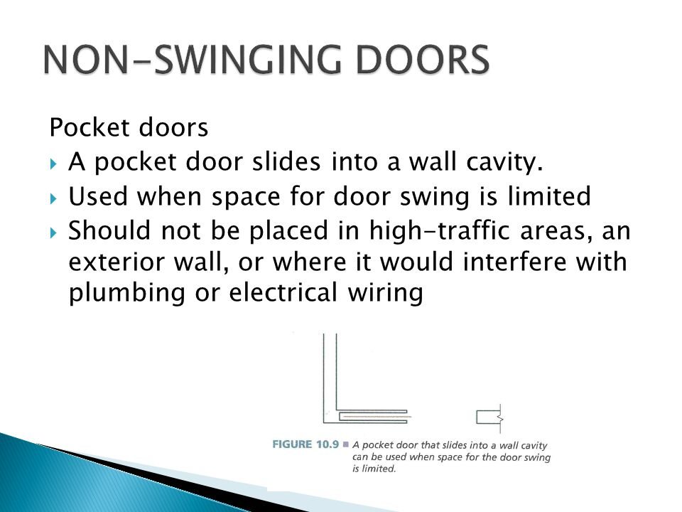 Pocket doors A pocket door slides into a wall cavity.
