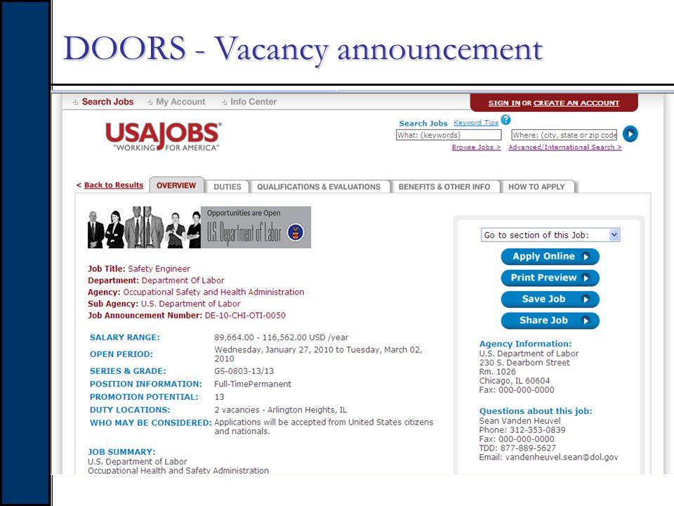 DOORS - Vacancy announcement