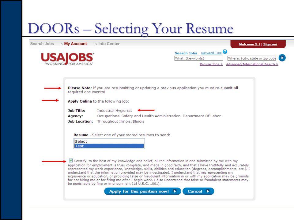 DOORs – Selecting Your Resume