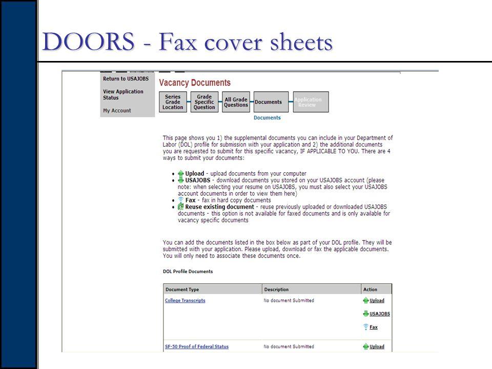 DOORS - Fax cover sheets