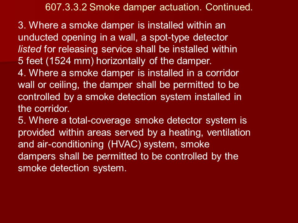 607.3.3.2 Smoke damper actuation. Continued. 3. Where a smoke damper is installed within an unducted opening in a wall, a spot-type detector listed fo