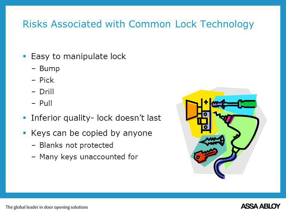 Risks Associated with Common Lock Technology Easy to manipulate lock –Bump –Pick –Drill –Pull Inferior quality- lock doesnt last Keys can be copied by