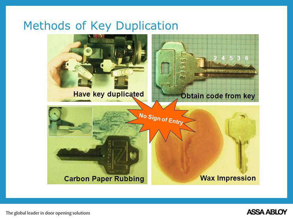 Methods of Key Duplication Have key duplicated Obtain code from key 2 4 5 3 6 Carbon Paper Rubbing Wax Impression No Sign of Entry