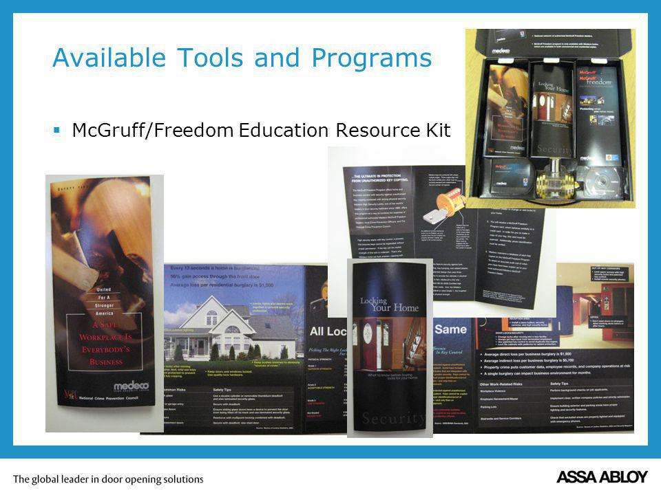 Available Tools and Programs McGruff/Freedom Education Resource Kit