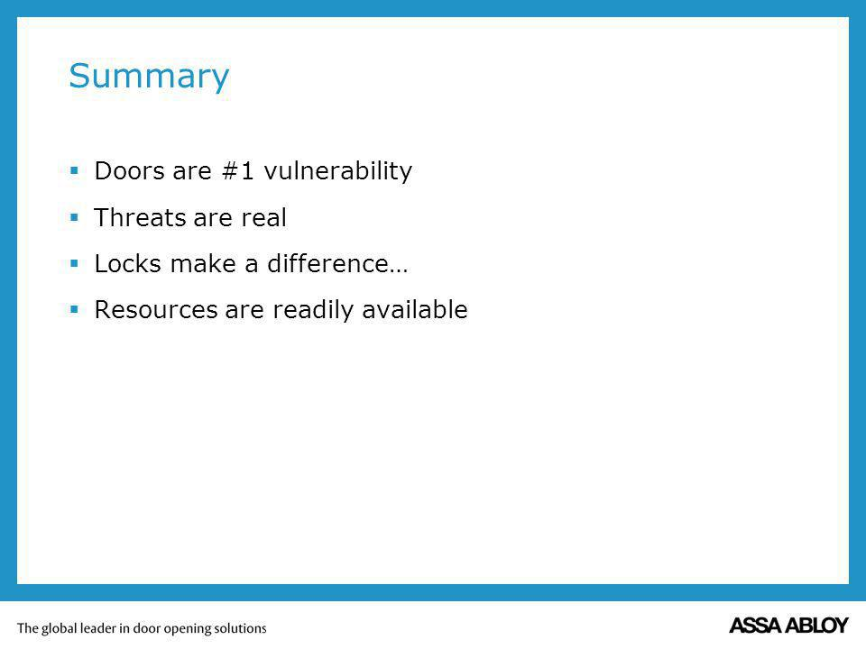 Summary Doors are #1 vulnerability Threats are real Locks make a difference… Resources are readily available