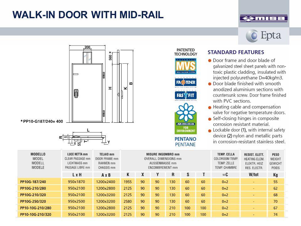 WALK-IN DOOR WITH MID-RAIL