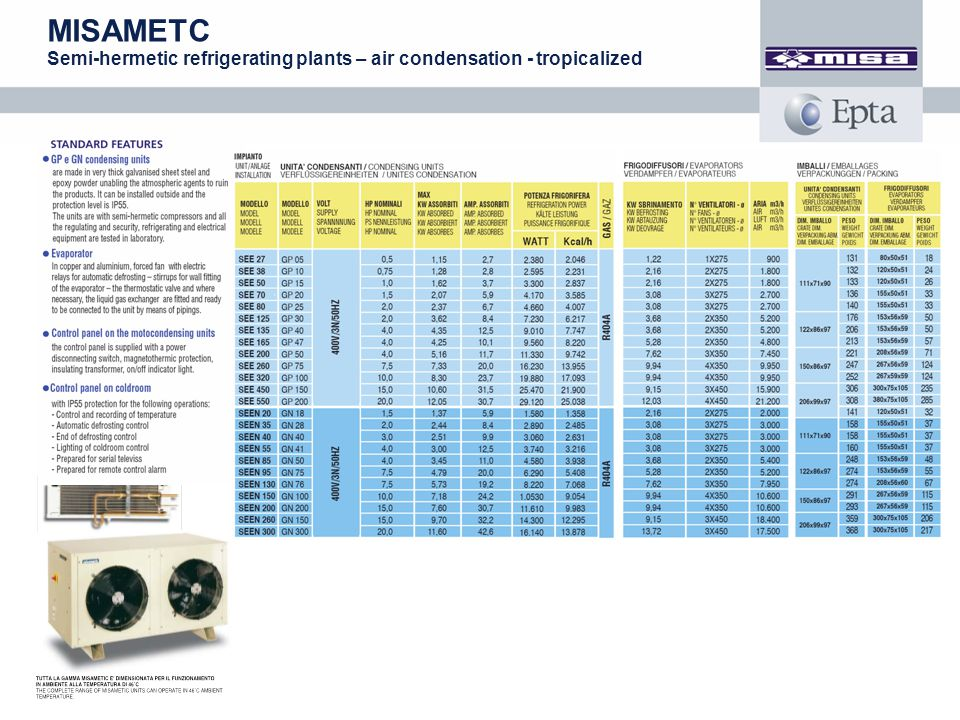 MISAMETC Semi-hermetic refrigerating plants – air condensation - tropicalized