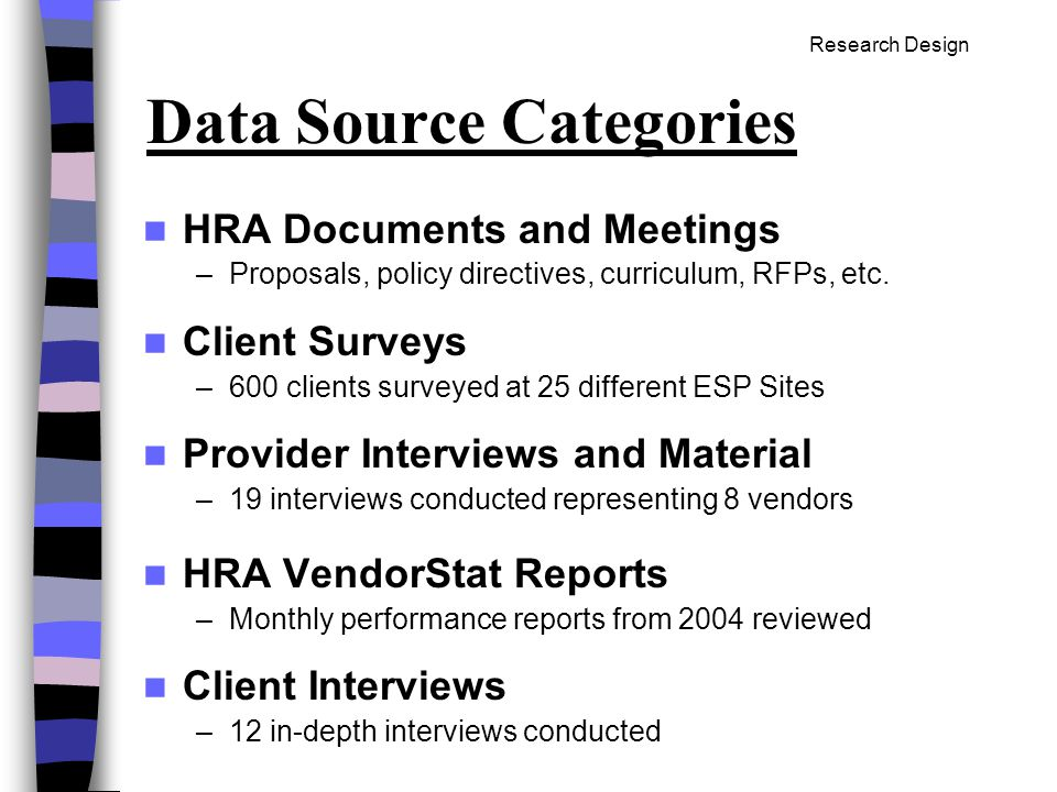 Data Source Categories HRA Documents and Meetings –Proposals, policy directives, curriculum, RFPs, etc.