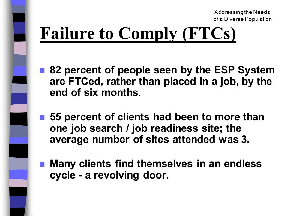 Addressing the Needs of a Diverse Population Failure to Comply (FTCs) 82 percent of people seen by the ESP System are FTCed, rather than placed in a job, by the end of six months.