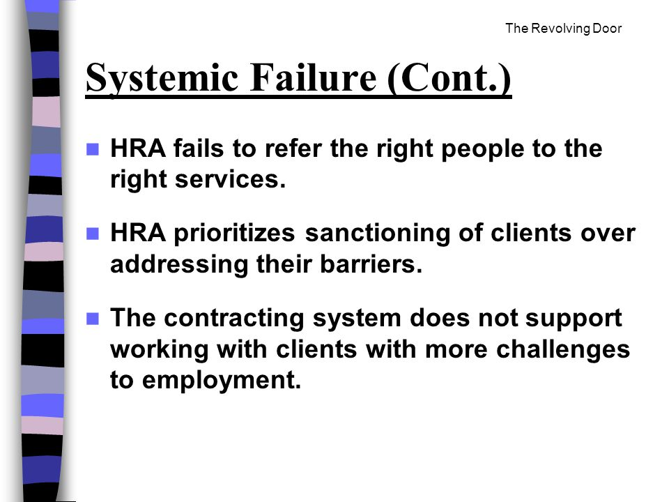 The Revolving Door Systemic Failure (Cont.) HRA fails to refer the right people to the right services.