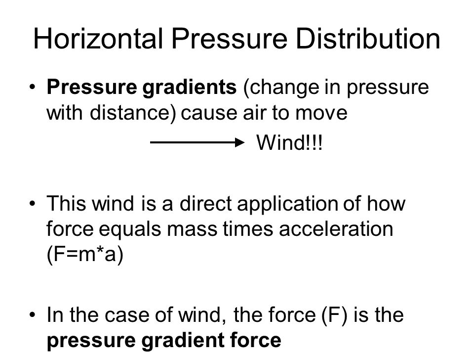Horizontal Pressure Distribution Pressure gradients (change in pressure with distance) cause air to move Wind!!! This wind is a direct application of