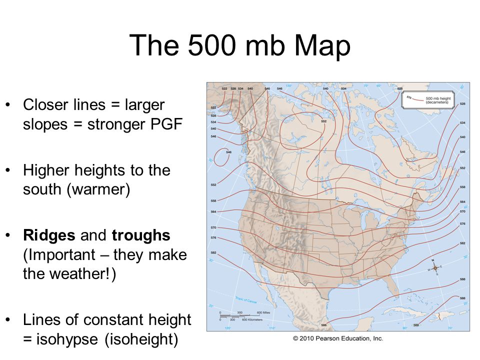 The 500 mb Map Closer lines = larger slopes = stronger PGF Higher heights to the south (warmer) Ridges and troughs (Important – they make the weather!