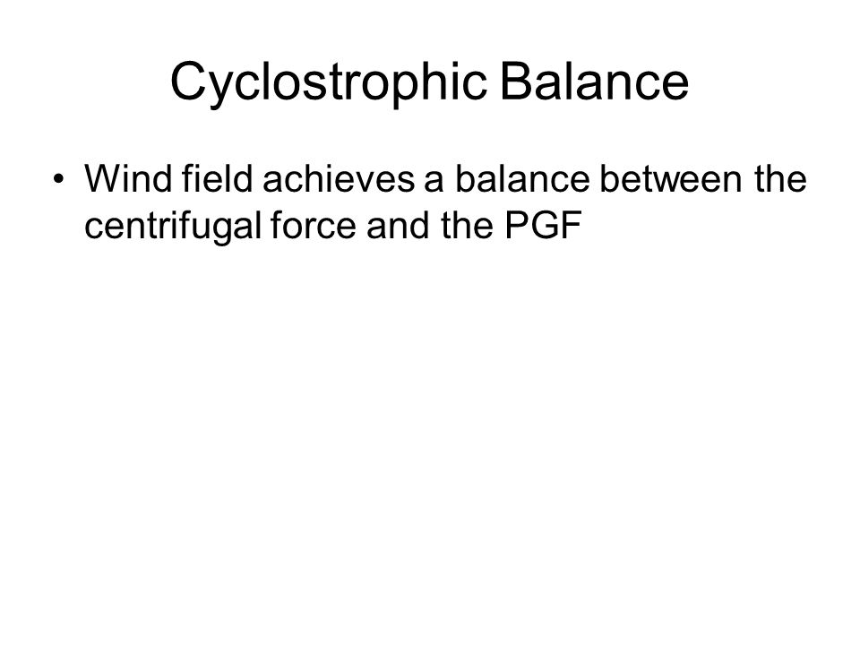 Cyclostrophic Balance Wind field achieves a balance between the centrifugal force and the PGF