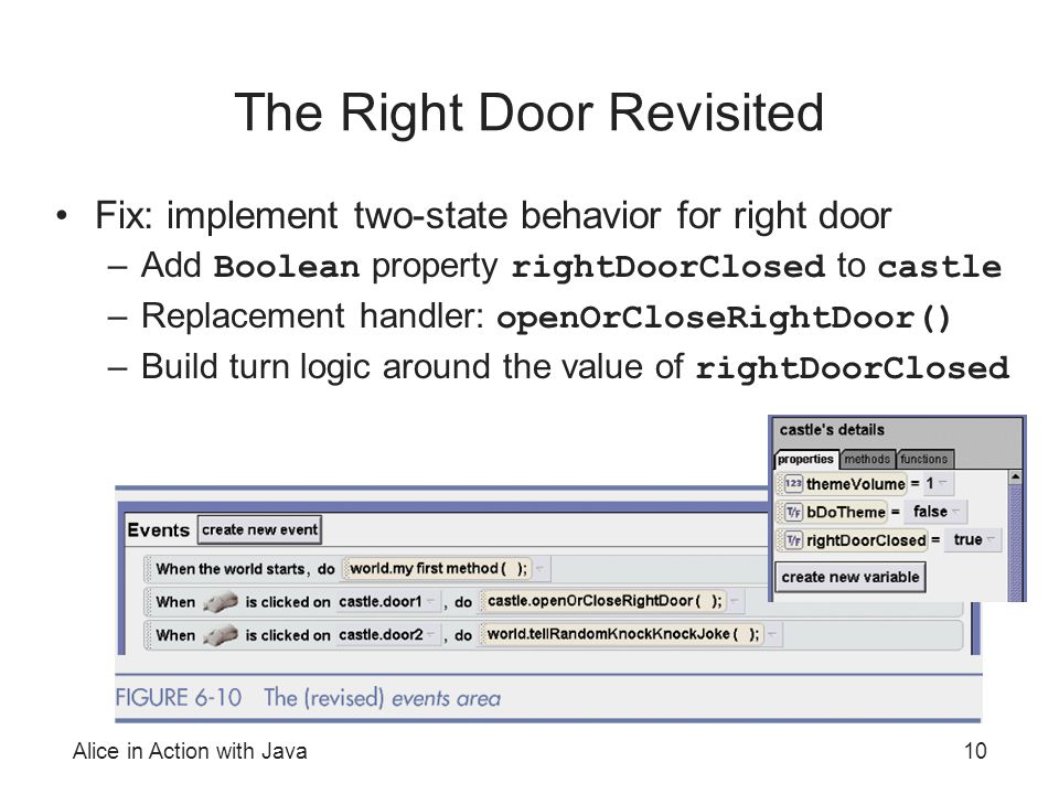 Alice in Action with Java10 The Right Door Revisited Fix: implement two-state behavior for right door –Add Boolean property rightDoorClosed to castle