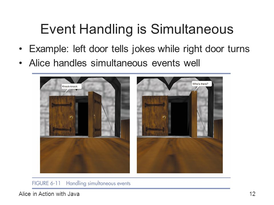 Alice in Action with Java12 Event Handling is Simultaneous Example: left door tells jokes while right door turns Alice handles simultaneous events wel