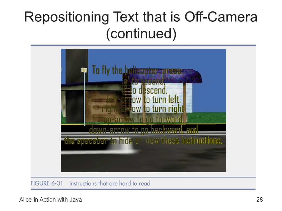 Alice in Action with Java28 Repositioning Text that is Off-Camera (continued)