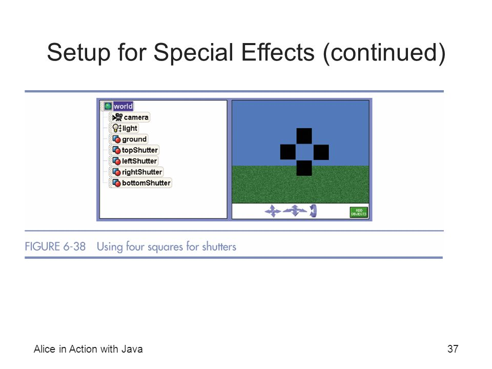 Alice in Action with Java37 Setup for Special Effects (continued)