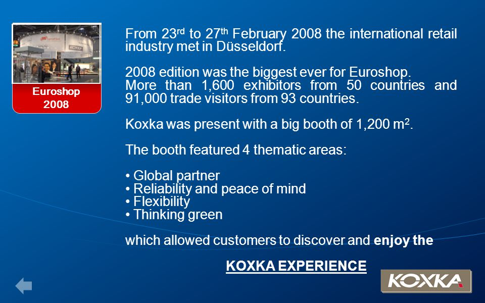 From 23 rd to 27 th February 2008 the international retail industry met in Düsseldorf. 2008 edition was the biggest ever for Euroshop. More than 1,600