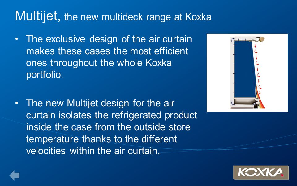 Multijet, the new multideck range at Koxka The exclusive design of the air curtain makes these cases the most efficient ones throughout the whole Koxk