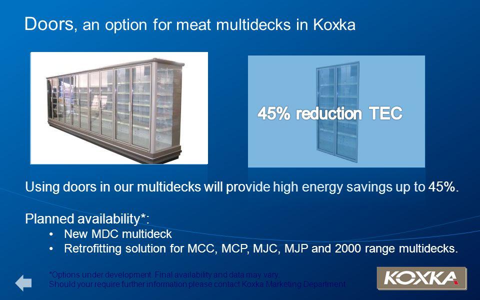 Doors, an option for meat multidecks in Koxka Using doors in our multidecks will provide high energy savings up to 45%. Planned availability*: New MDC