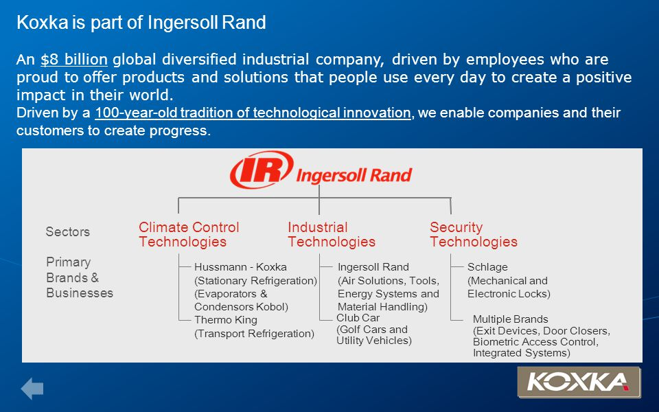 Koxka is part of Ingersoll Rand A n $8 billion global diversified industrial company, driven by employees who are proud to offer products and solution