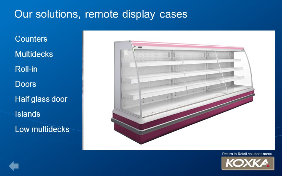 Our solutions, plug in cases Counters Multidecks Half glass doors Islands Promotional islands Ice chests Doors uprights Return to Retail solutions menu