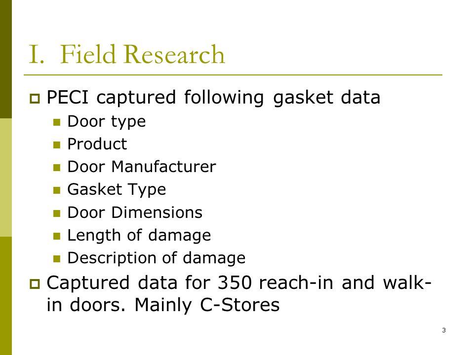 3 I. Field Research PECI captured following gasket data Door type Product Door Manufacturer Gasket Type Door Dimensions Length of damage Description o