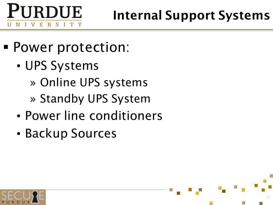 22 Internal Support Systems Power protection: UPS Systems »Online UPS systems »Standby UPS System Power line conditioners Backup Sources
