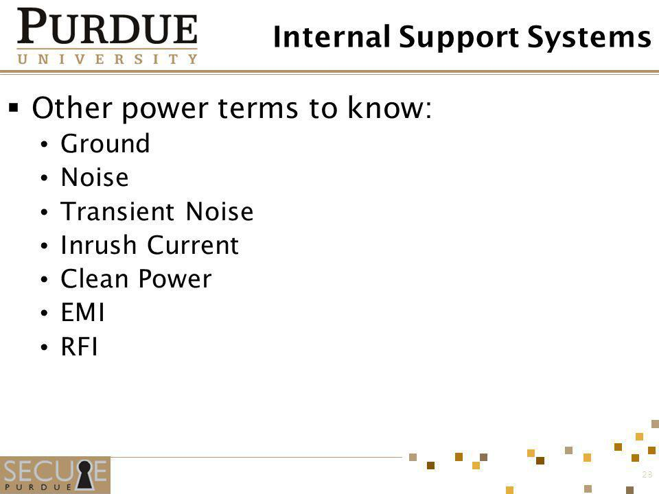 23 Internal Support Systems Other power terms to know: Ground Noise Transient Noise Inrush Current Clean Power EMI RFI