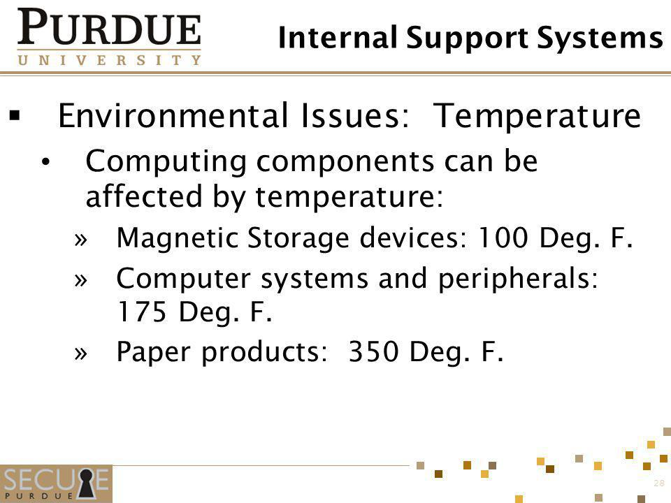 28 Internal Support Systems Environmental Issues: Temperature Computing components can be affected by temperature: »Magnetic Storage devices: 100 Deg.