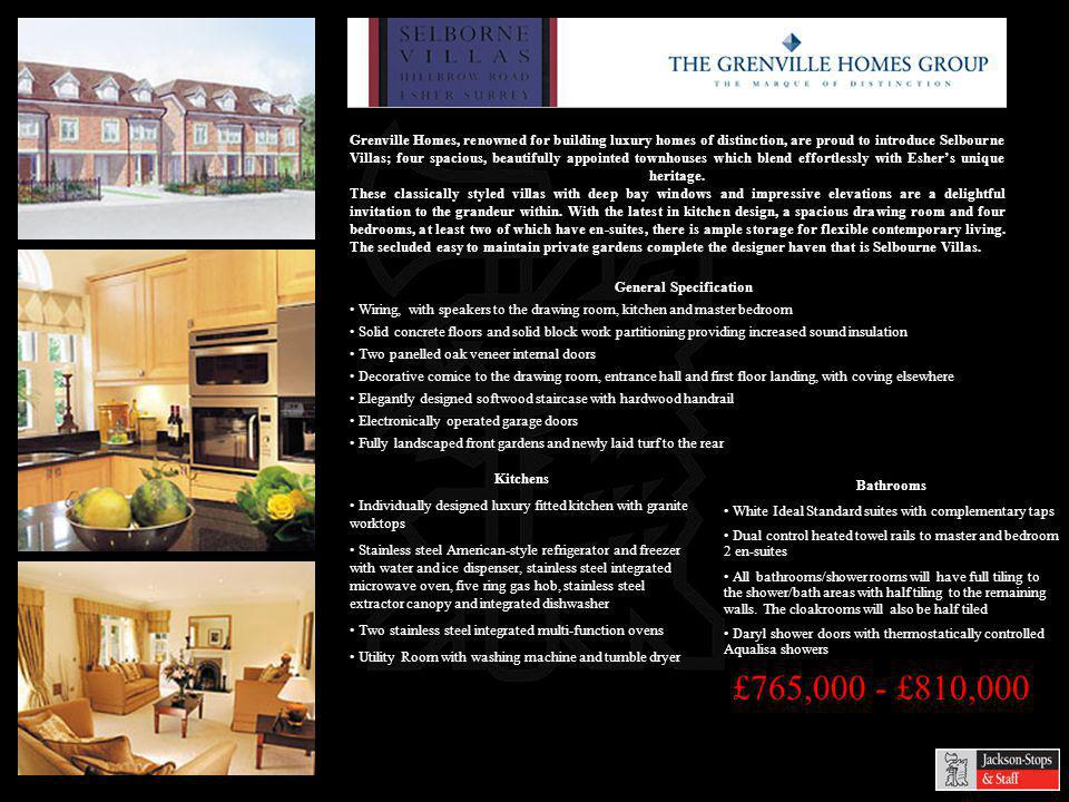 £765,000 - £810,000 Grenville Homes, renowned for building luxury homes of distinction, are proud to introduce Selbourne Villas; four spacious, beautifully appointed townhouses which blend effortlessly with Eshers unique heritage.