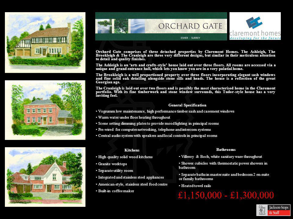 £1,150,000 - £1,300,000 Orchard Gate comprises of three detached properties by Claremont Homes.