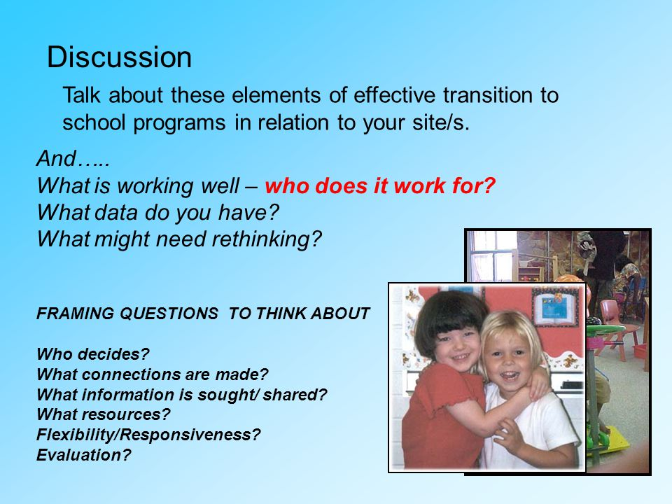 Discussion Talk about these elements of effective transition to school programs in relation to your site/s.