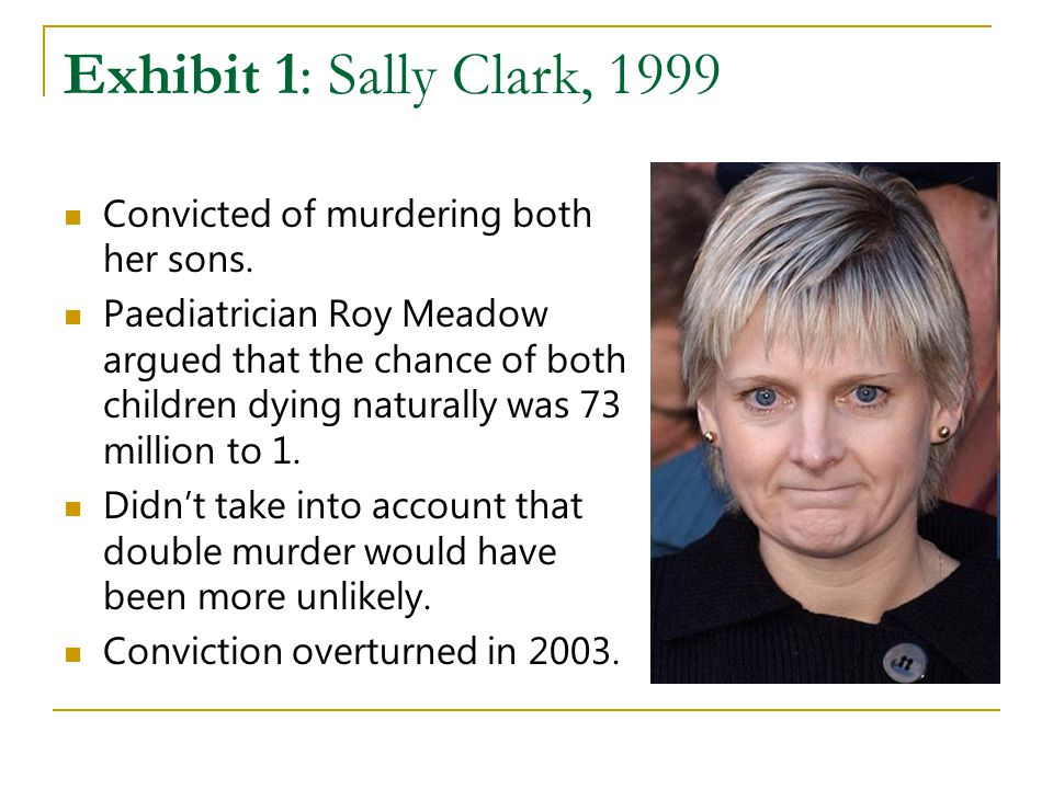 Exhibit 1: Sally Clark, 1999 Convicted of murdering both her sons. Paediatrician Roy Meadow argued that the chance of both children dying naturally wa